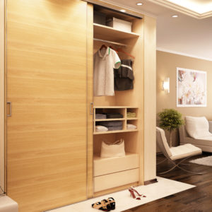 Sliding wardrobe door kit in bedroom application